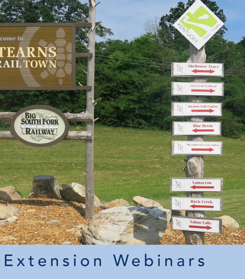 photograph of outdoor signs and text that reads extension webinars