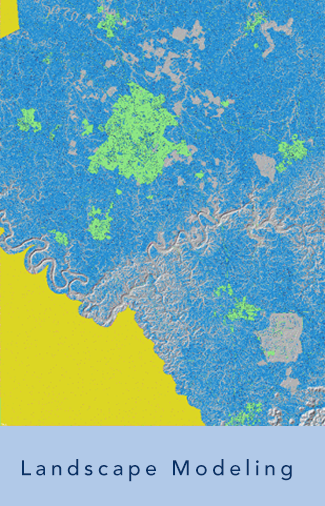 map representing Lees research entitled landscape modeling