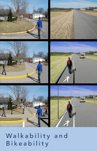 collage of pictures representing Lee's research entitled walkability and bikeability