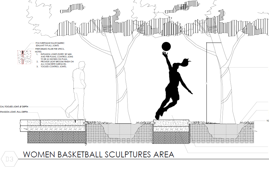 student rendering of women's basketball sculpture area outside memorial coliseum