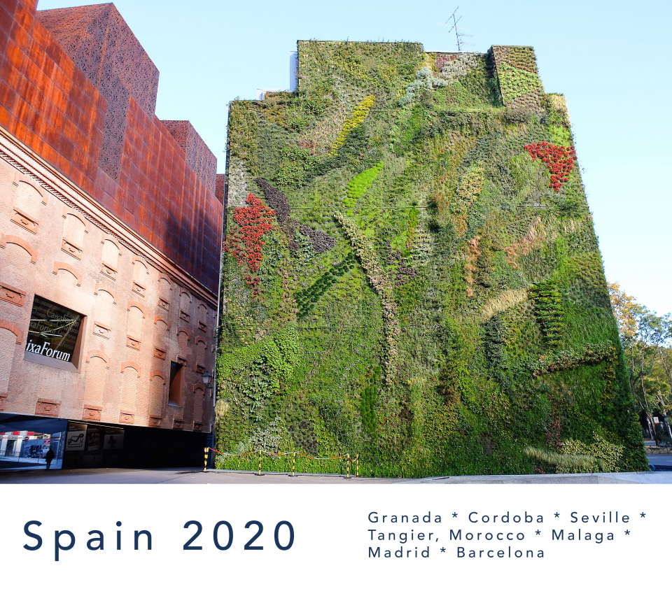 exterior wall of plants at CaixaForum museum in Madrid, Spain
