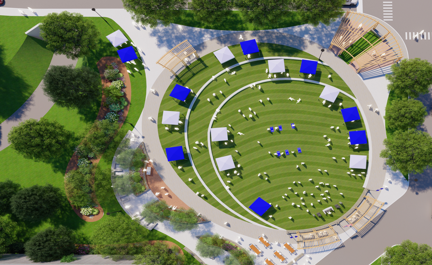 student rendering of green space with tents and people