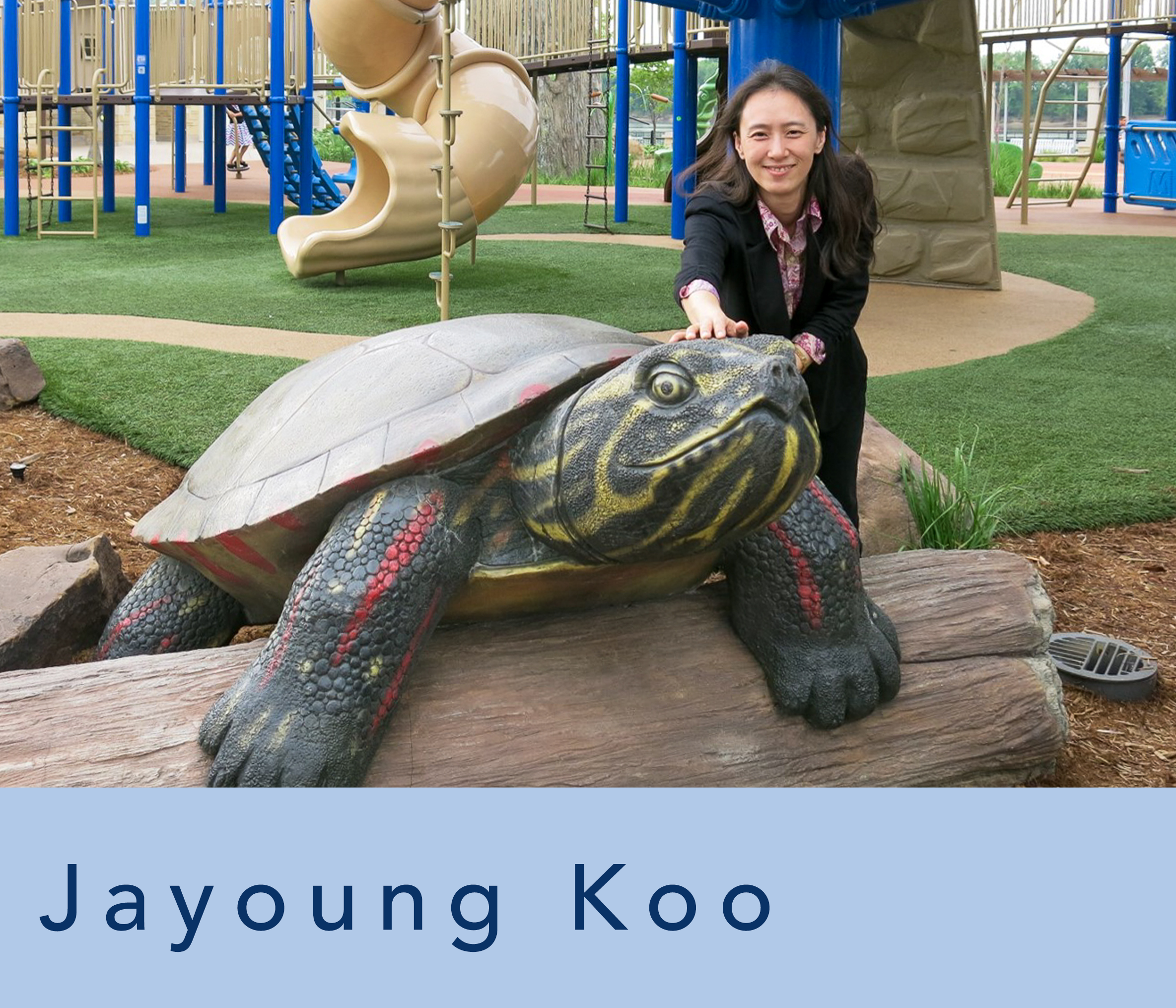 photograph of Jayoung Koo at a child's playground