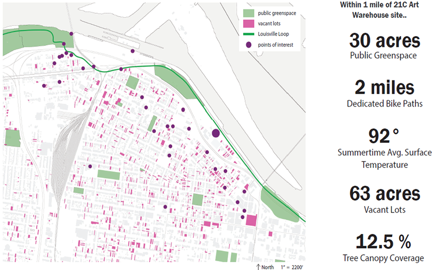 student map of Louisville neighborhood marking vacant lots and green spaces
